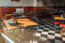 This is a classic eatery down by the waterfront. I love the contrast between the tiled floor and the red vinyl seats.