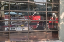 Fire trucks parked and waiting